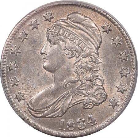 Coin World/Numismatic News Featured Coins 1834 CAPPED BUST HALF DOLLAR – LARGE DATE, SMALL LETTERS – PCGS AU-58