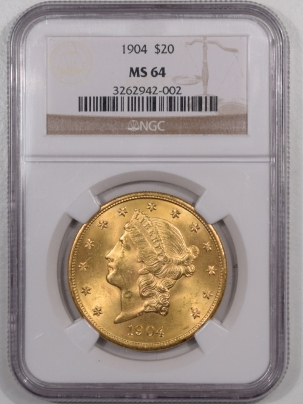 New Certified Coins 1904 $20 LIBERTY HEAD GOLD – NGC MS-64