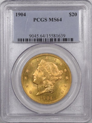 New Certified Coins 1904 $20 LIBERTY HEAD GOLD – PCGS MS-64 PREMIUM QUALITY! GEM PL