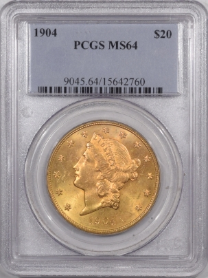New Certified Coins 1904 $20 LIBERTY HEAD GOLD – PCGS MS-64