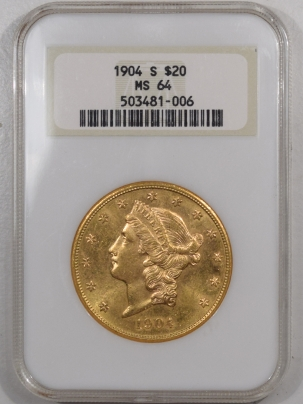 $20 1904-S $20 LIBERTY HEAD GOLD – NGC MS-64 FATTIE HOLDER!