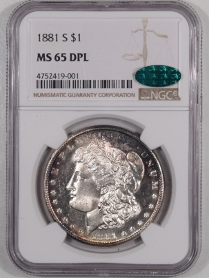 CAC Approved Coins 1881-S MORGAN DOLLAR – NGC MS-65 DPL PREMIUM QUALITY! CAC APPROVED!