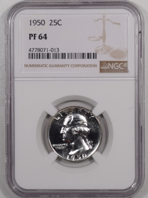 New Certified Coins 1950 PROOF WASHINGTON QUARTER – NGC PF-64