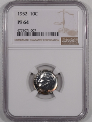 New Certified Coins 1952 PROOF ROOSEVELT DIME – NGC PF-64 PRETTY COLOR!