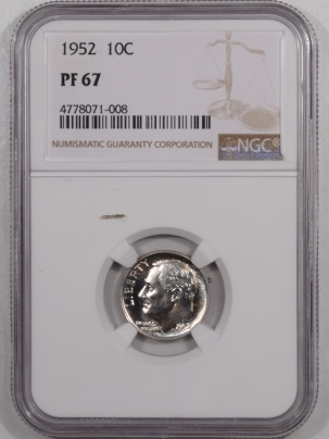 New Certified Coins 1952 PROOF ROOSEVELT DIME – NGC PF-67 SUPERB!