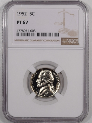 Jefferson Nickels 1952 PROOF JEFFERSON NICKEL – NGC PF-67 SUPERB!
