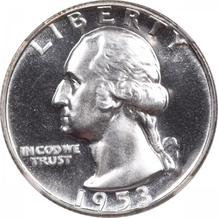 New Certified Coins 1953 PROOF WASHINGTON QUARTER – NGC PF-67 LOOKS CAMEO!