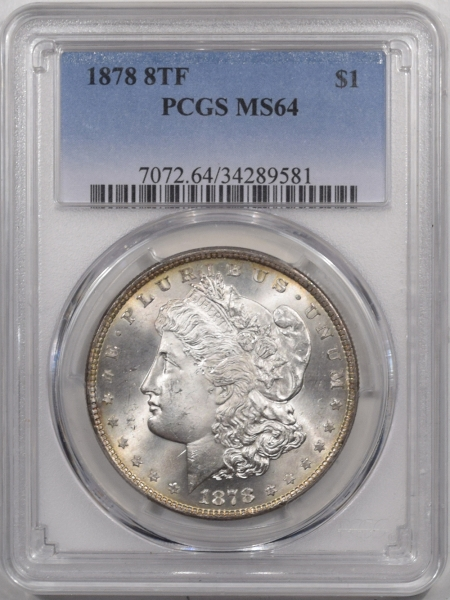 Coin World/Numismatic News Featured Coins 1878 8TF MORGAN DOLLAR – PCGS MS-64 PREMIUM QUALITY!