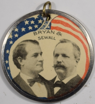 Political 1896 1 3/4″FULL COLOR BRYAN-SEWELL CELLO JUGATE – NEAR MINT!