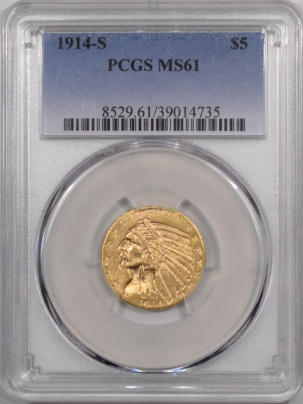 $5 1914-S $5 INDIAN HEAD GOLD – PCGS MS-61 FLASHY!
