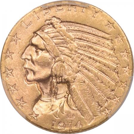 $5 1914-S $5 INDIAN HEAD GOLD – PCGS MS-61 FLASHY!