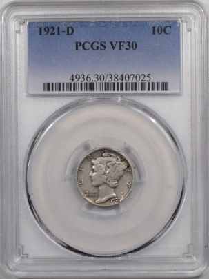 New Certified Coins 1921-D MERCURY DIME – PCGS VF-30