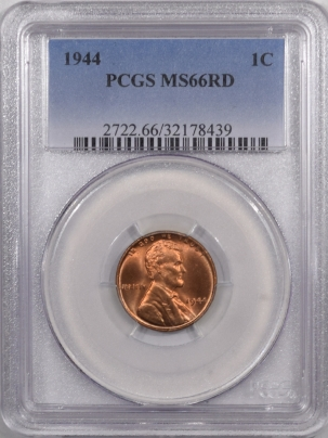 Lincoln Cents (Wheat) 1944 LINCOLN CENT – PCGS MS-66 RD PREMIUM QUALITY!