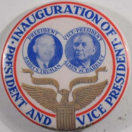 Political 1949 RARE 1 3/4″ TRUMAN INAUGURAL JUGATE – MINT!