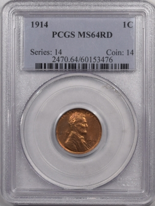 New Certified Coins 1914 LINCOLN CENT – PCGS MS-64 RD PREMIUM QUALITY! LOOKS GEM!
