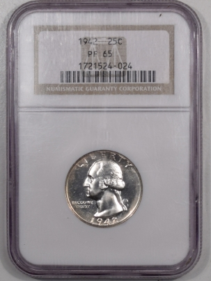 New Certified Coins 1942 PROOF WASHINGTON QUARTER – NGC PF-65 WHITE & FLASHY!