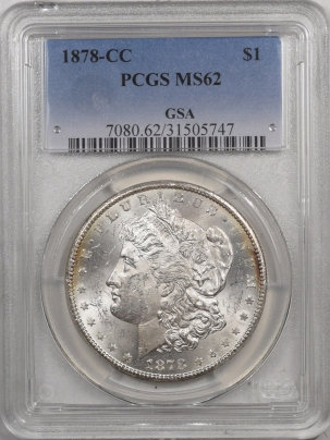 Morgan Dollars 1878-CC MORGAN DOLLAR – PCGS MS-62