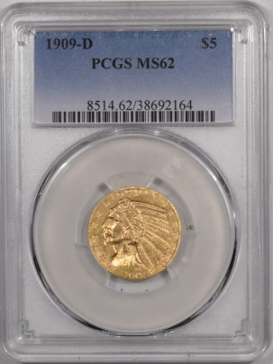 $5 1909-D $5 INDIAN HEAD GOLD – PCGS MS-62