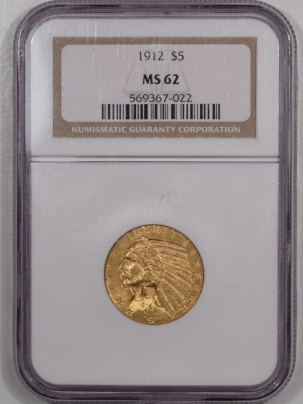 $5 1912 $5 INDIAN HEAD GOLD – NGC MS-62