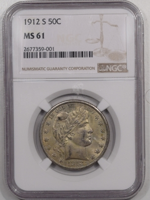 Barber Halves 1912-S BARBER HALF DOLLAR – NGC MS-61