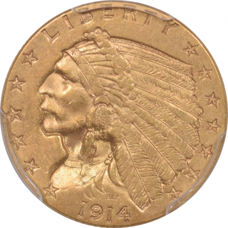 New Certified Coins 1914 $2.50 INDIAN HEAD GOLD – PCGS AU-55