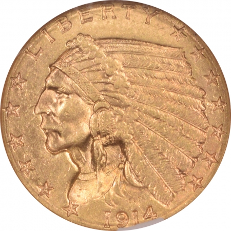 $2.50 1914-D $2.50 INDIAN HEAD GOLD – NGC MS-62