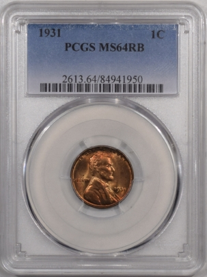Lincoln Cents (Wheat) 1931 LINCOLN CENT – PCGS MS-64 RB