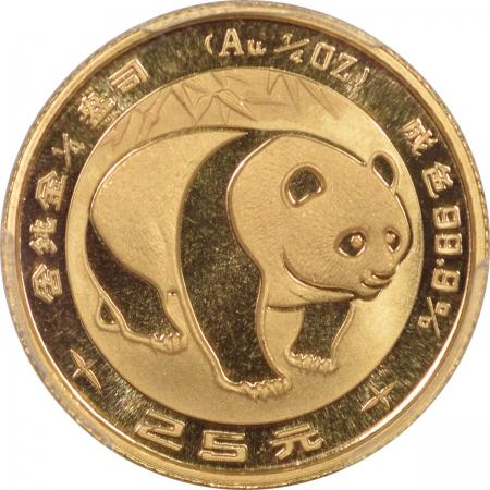 World Certified Coins 1983 25 YN CHINA, PEOPLES REPUBLIC PANDA GOLD PAN-8A – PCGS MS-69