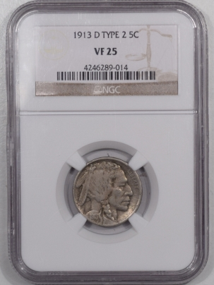 Buffalo Nickels 1913-D BUFFALO NICKEL – TY II – NGC VF-25