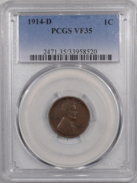 New Certified Coins 1914-D LINCOLN CENT – PCGS VF-35