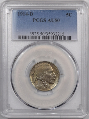 Buffalo Nickels 1914-D BUFFALO NICKEL – PCGS AU-50