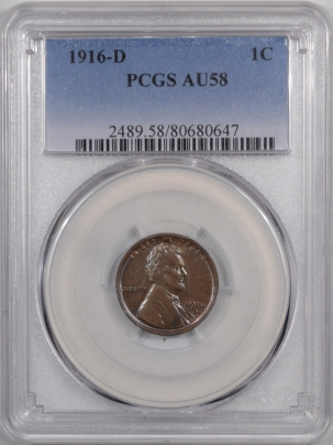 Lincoln Cents (Wheat) 1916-D LINCOLN CENT – PCGS AU-58 PREMIUM QUALITY! LOOKS 63-BN