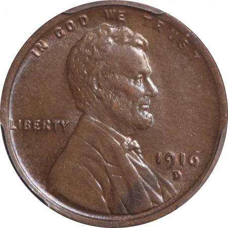 Lincoln Cents (Wheat) 1916-D LINCOLN CENT – PCGS AU-58 PREMIUM QUALITY! LOOKS 63-BN
