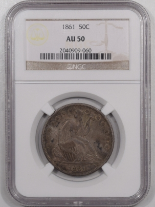 Liberty Seated Halves 1861 SEATED LIBERTY HALF DOLLAR – NGC AU-50, ORIGINAL!