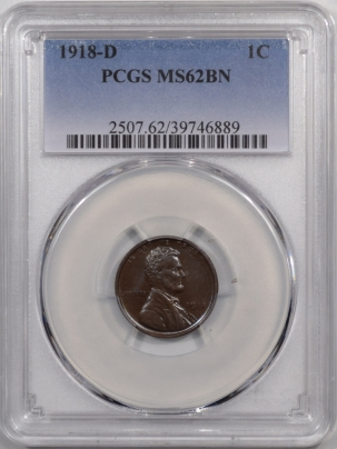 Lincoln Cents (Wheat) 1918-D LINCOLN CENT – PCGS MS-62 BN, PQ & REALLY PRETTY!