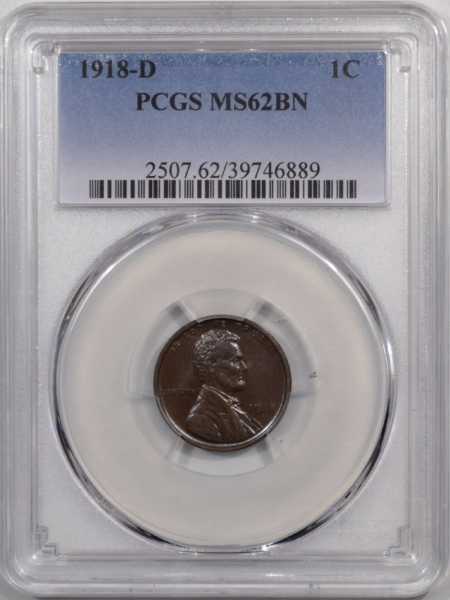 New Certified Coins 1918-D LINCOLN CENT – PCGS MS-62 BN, PQ & REALLY PRETTY!