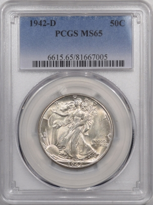 New Certified Coins 1942-D WALKING LIBERTY HALF DOLLAR – PCGS MS-65, SATINY GEM!