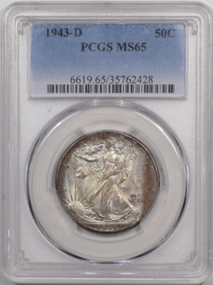 New Certified Coins 1943-D WALKING LIBERTY HALF DOLLAR – PCGS MS-65, PRETTY!