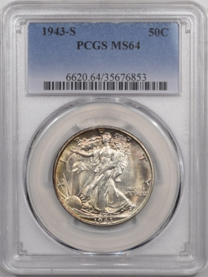 New Certified Coins 1943-S WALKING LIBERTY HALF DOLLAR – PCGS MS-64