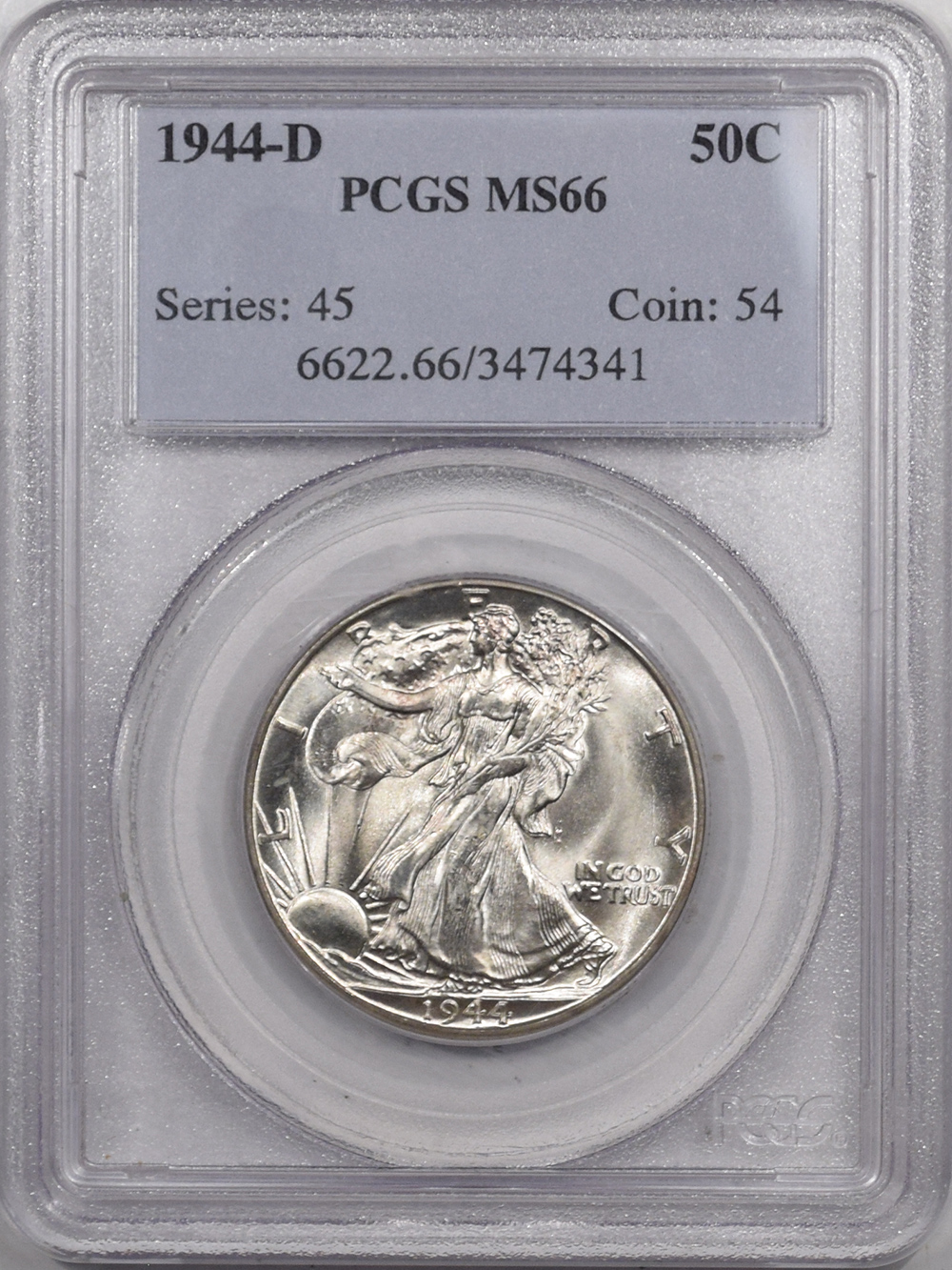 New Certified Coins 1944-D WALKING LIBERTY HALF DOLLAR – PCGS MS-66, SUPER PQ!