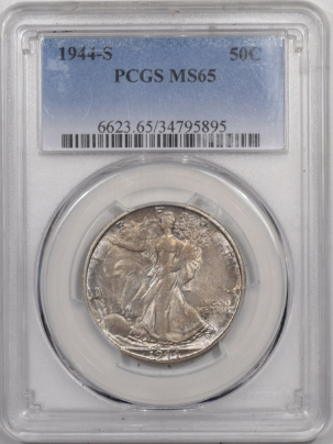 New Certified Coins 1944-S WALKING LIBERTY HALF DOLLAR – PCGS MS-65, PRETTY! END OF THE ROLL TONING