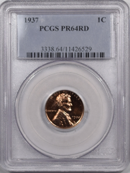 New Certified Coins 1937 PROOF LINCOLN CENT – PCGS PR-64 RD PREMIUM QUALITY!
