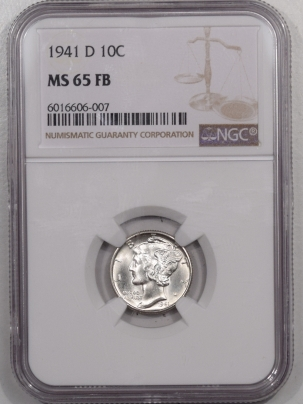 New Certified Coins 1941-D MERCURY DIME – NGC MS-65 FB