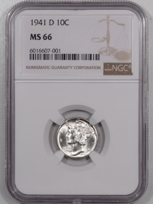 New Certified Coins 1941-D MERCURY DIME – NGC MS-66