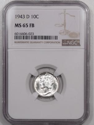 Mercury Dimes 1943-D MERCURY DIME – NGC MS-65 FB