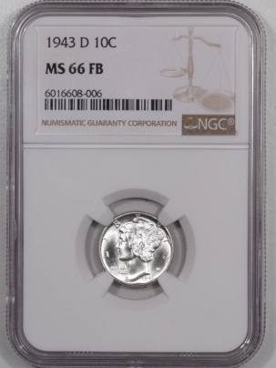 Mercury Dimes 1943-D MERCURY DIME – NGC MS-66 FB