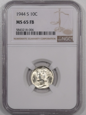 New Certified Coins 1944-S MERCURY DIME – NGC MS-65 FB