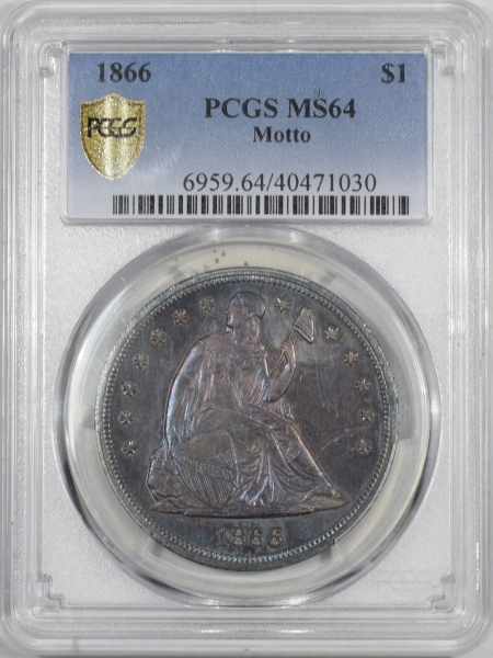 U.S. Certified Coins 1866 MOTTO LIBERTY SEATED DOLLAR PCGS MS-64, BEAUTIFUL ORIGINAL TONING, RARE!