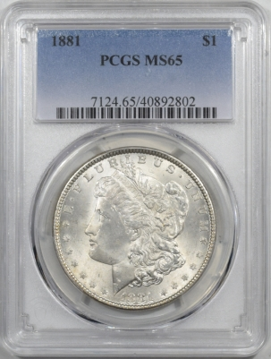 New Certified Coins 1881 MORGAN DOLLAR PCGS MS-65, BLAST WHITE & NICE!