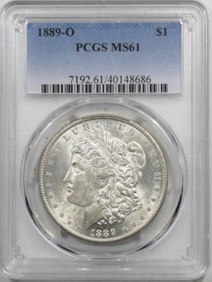 Morgan Dollars 1889-O MORGAN DOLLAR – PCGS MS-61, BLAST WHITE, TOUGH DATE